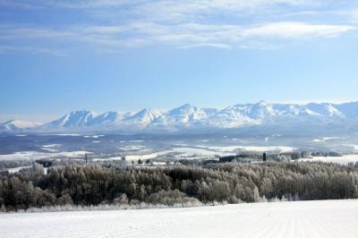 ジェットコースターの路から見る十勝岳連峰